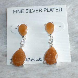 Orange Adventurine & CZ Silver Plated Earrings New